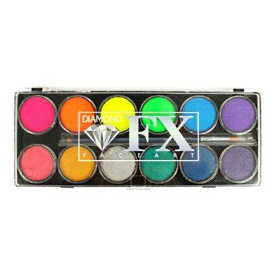 Farby do twarzy DiamondFX Paletka Neon Metallic 12x10g